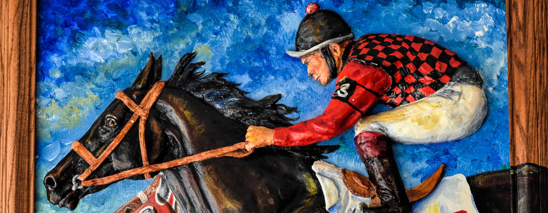 3D painting of rider and horse